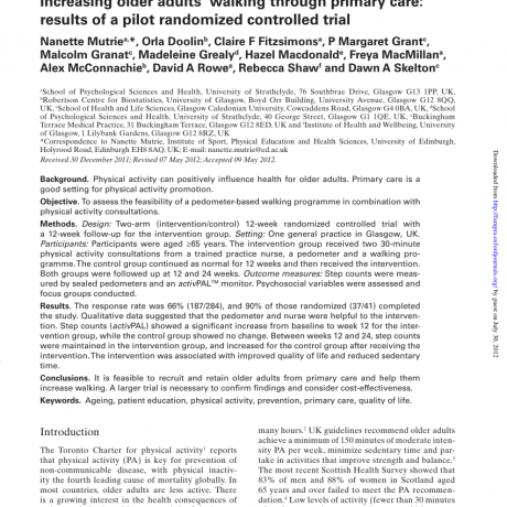PDF) Increasing older adults' walking through primary care: Results of a  pilot randomized controlled trial