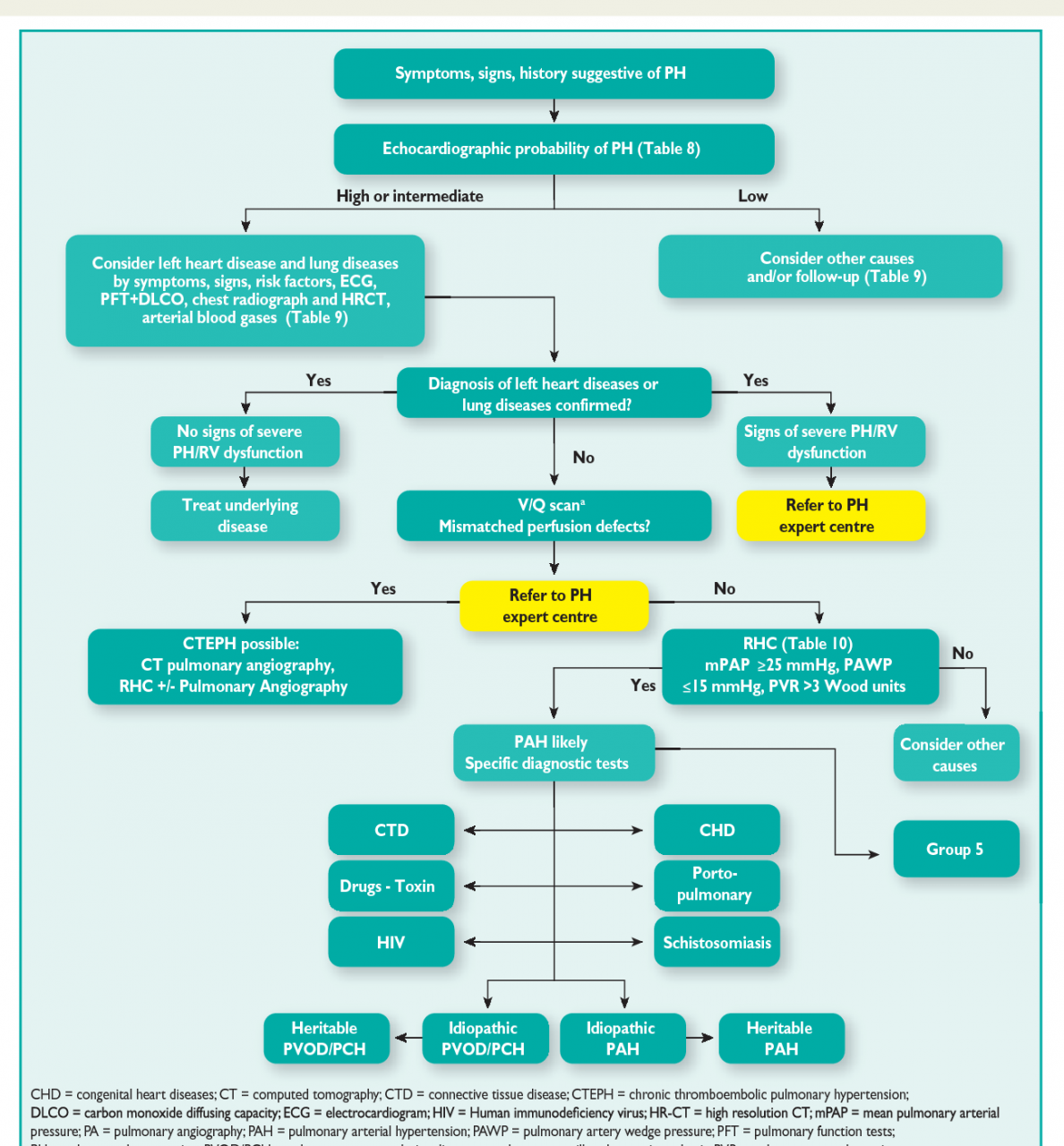 Figure 1 from 2015 ESC/ERS Guidelines for the Diagnosis and Treatment of Pulmonary  Hypertension. | Semantic Scholar