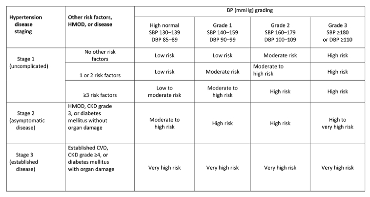 Definition of hypertension and pressure goals during treatment (ESC-ESH  Guidelines 2018)
