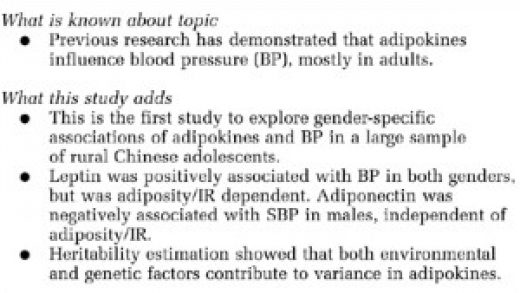 Association of adipokines with blood pressure in rural Chinese adolescents  | Journal of Human Hypertension