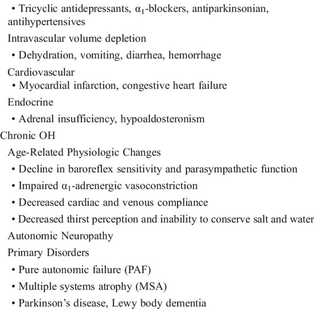 Acute and Chronic Causes of Orthostatic Hypotension   Download Table