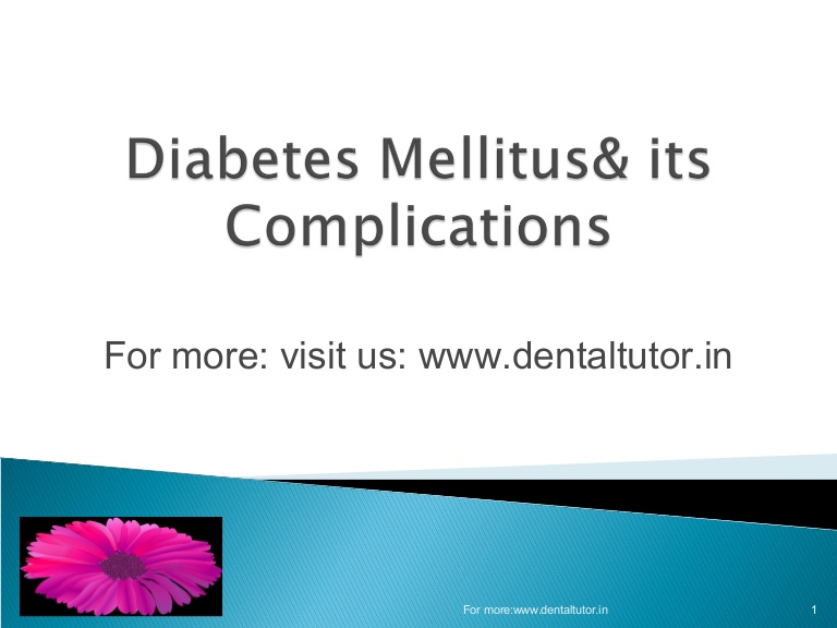 Diabetes and its Complication