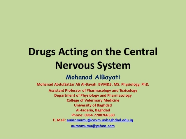 Drugs acting on the central nervous system