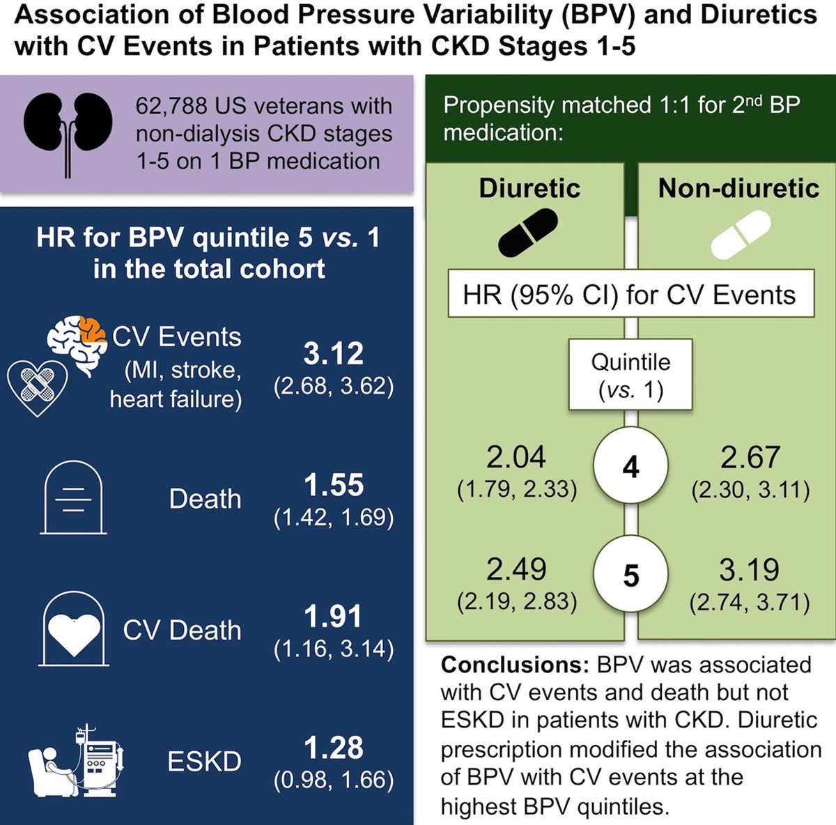 Association of Blood Pressure Variability and Diuretics With Cardiovascular  Events in Patients With Chronic Kidney Disease Stages 1–5 | Hypertension