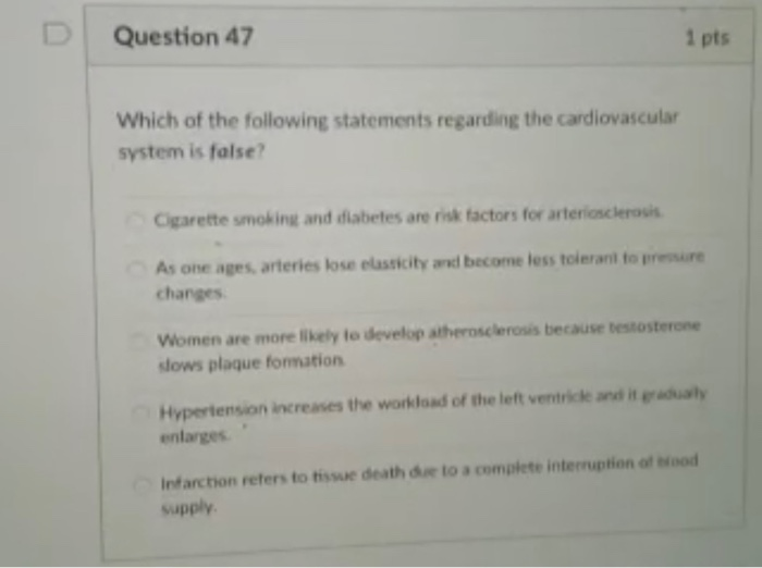 Question 47 1 pts Which of the following statements | Chegg.com
