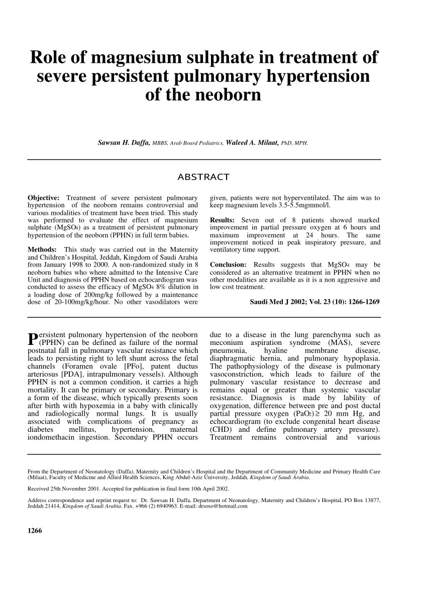 PDF) Role of magnesium sulphate in treatment of severe persistent pulmonary  hypertension of the neoborn