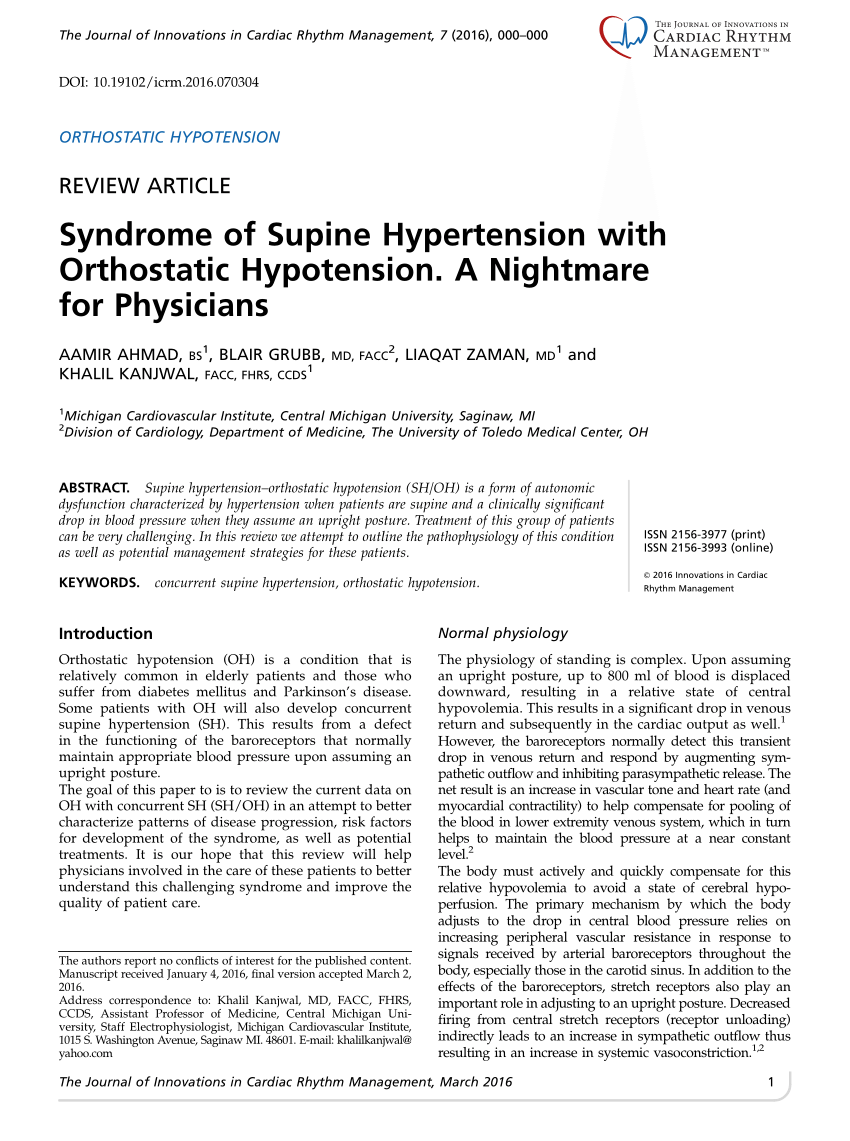 PDF) Syndrome of Supine Hypertension with Orthostatic Hypotension. A  Nightmare for Physicians