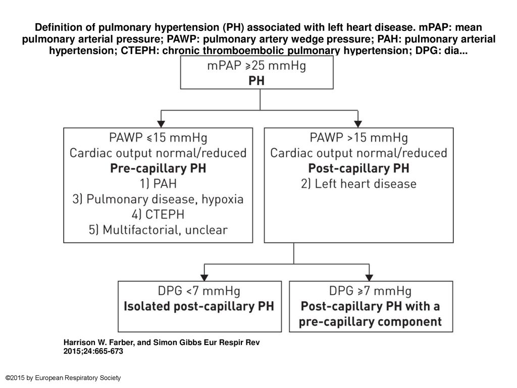 Definition of pulmonary hypertension (PH) associated with left heart  disease. mPAP: mean pulmonary arterial pressure; PAWP: pulmonary artery  wedge pressure; - ppt download