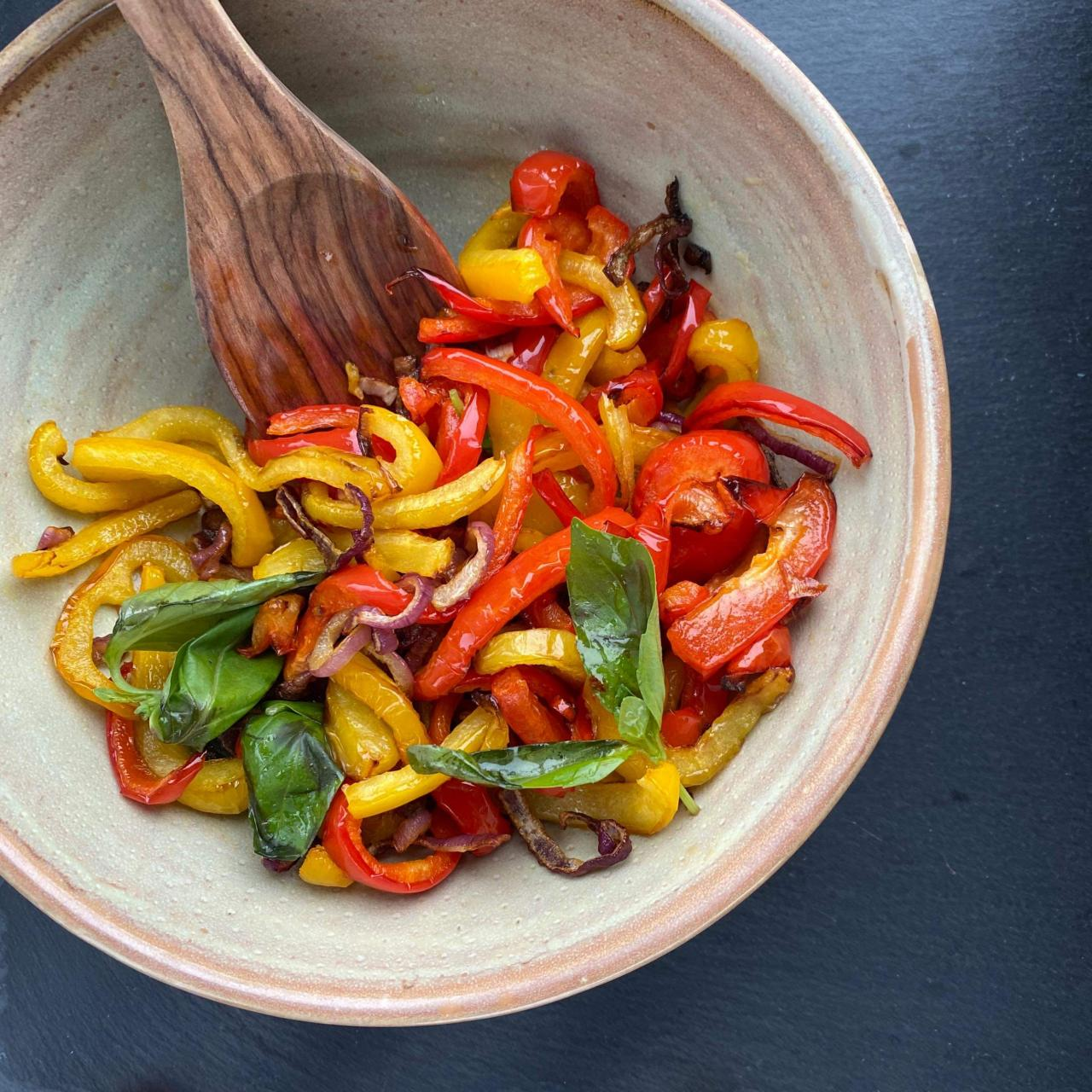 Air-Fried Roasted Sweet Peppers and Onions Recipe | Allrecipes