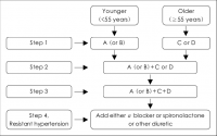 Algorithm for the treatment of hypertension. A: ACE inhibitors or ARBs,...  | Download Scientific Diagram