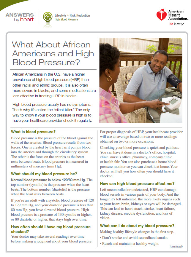 High Blood Pressure and African Americans   American Heart Association