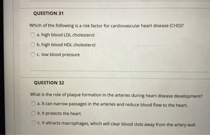 Solved: QUESTION 31 Which Of The Following Is A Risk Facto...   Chegg.com