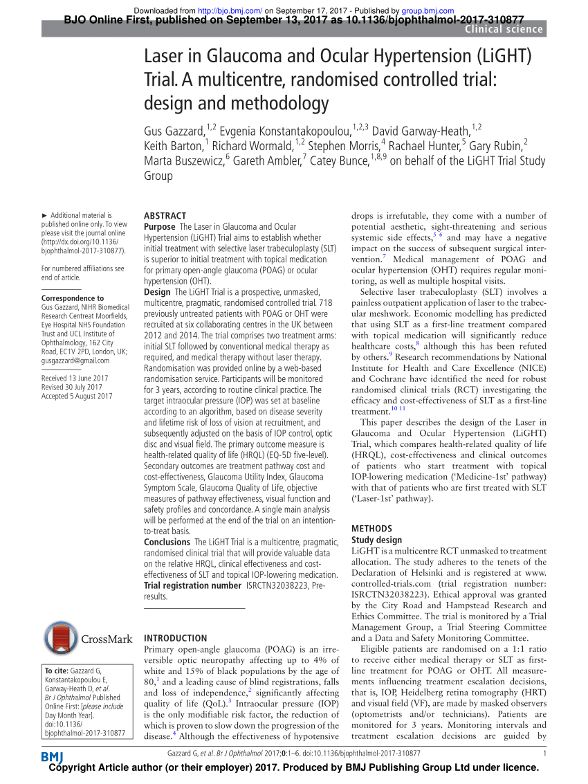 PDF) Laser in Glaucoma and Ocular Hypertension (LiGHT) Trial. A  multicentre, randomised controlled trial: design and methodology