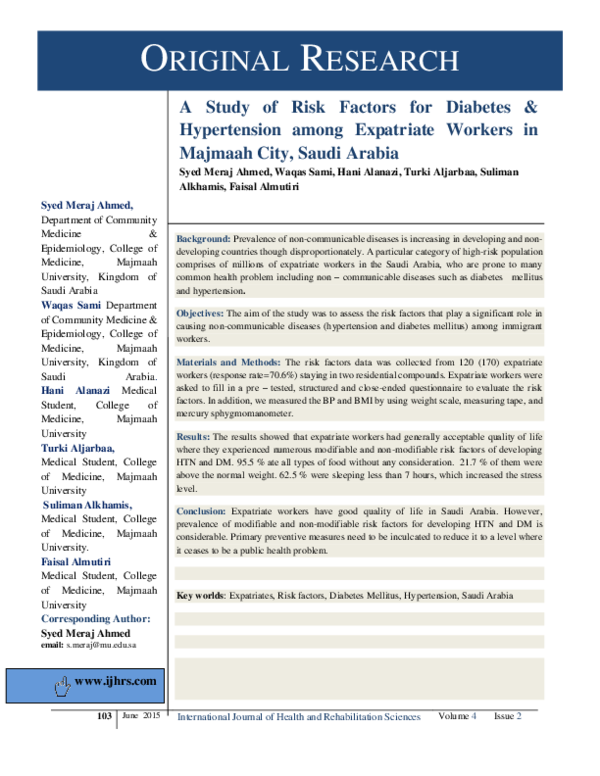 PDF) A STUDY OF RISK FACTORS FOR DIABETES & HYPERTENSION A Study of Risk  Factors for Diabetes & Hypertension among Expatriate Workers in Majmaah  City, Saudi Arabia | Ahmed Meraj and Syed