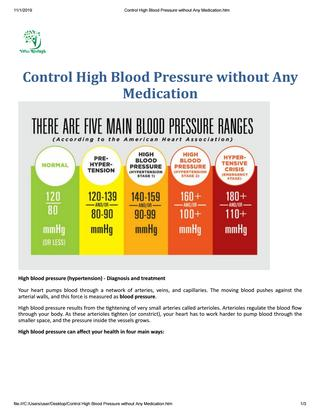 Control High Blood Pressure Without Any Medication by Vidza RiseHigh - issuu