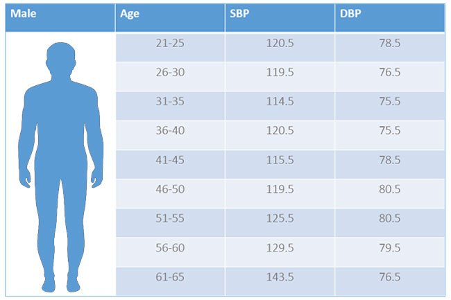 What Are Normal Blood Pressure Ranges by Age For Men and Women? Chart  Readings for Low, Normal, and High BP