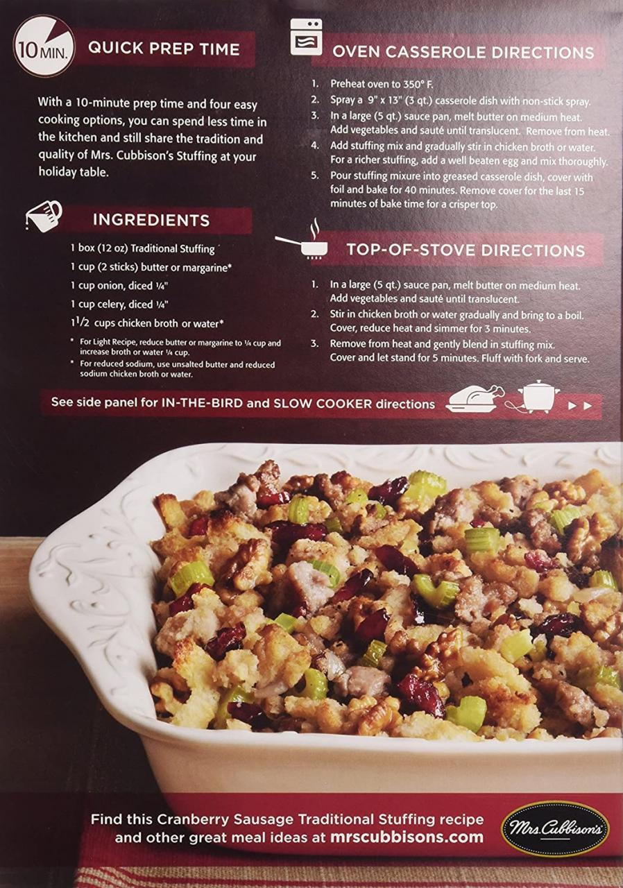 Mrs. Cubbison's Stuffing Mix, Traditional, 12 oz : Packaged Stuffing Side  Dishes : Grocery & Gourmet Food - Amazon.com